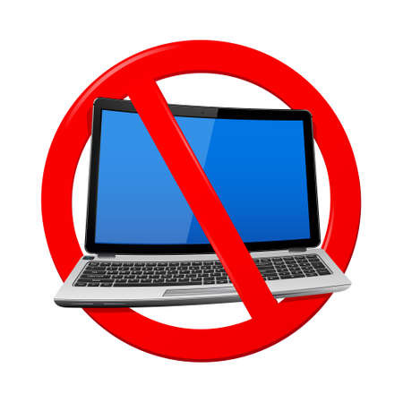 use regulations: No Laptop - prohibition sign isolated over white