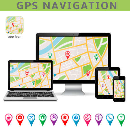 navigation aid: GPS navigation. Infographic template. Vector illustration.