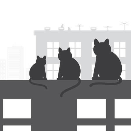family home: Cats sitting on roof and looking to city, vector illustration