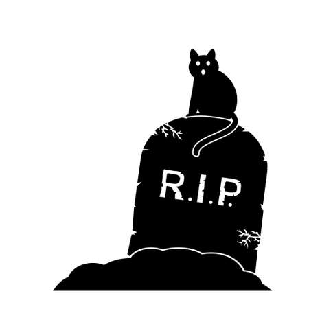 stone tombstone: Gravestone and black cat, vector illustration