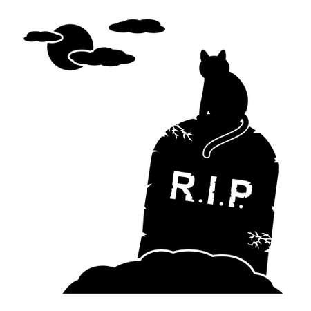 tomb empty: Cat sitting by gravestone