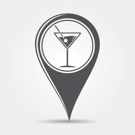 bebidas alcohÓlicas: cóctel de Martini icono puntero del mapa Vectores