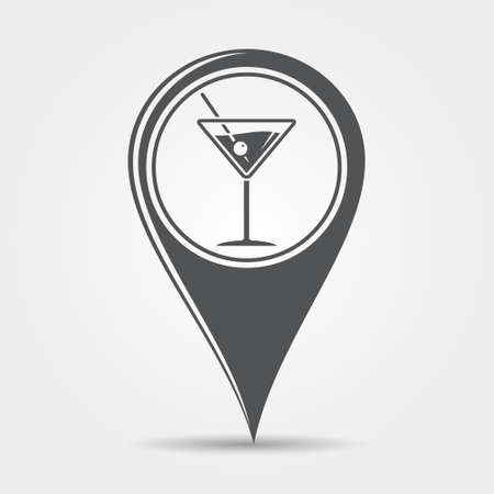 alcoholic: Martini cocktail map pointer icon