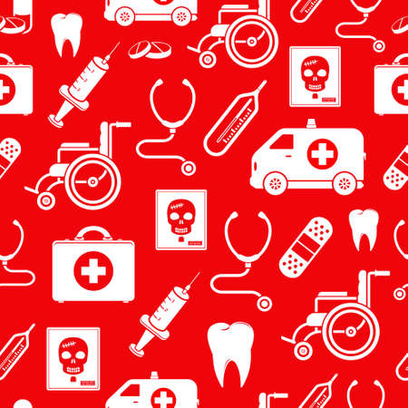 rentgen: Medicine vector seamless pattern in red color Illustration