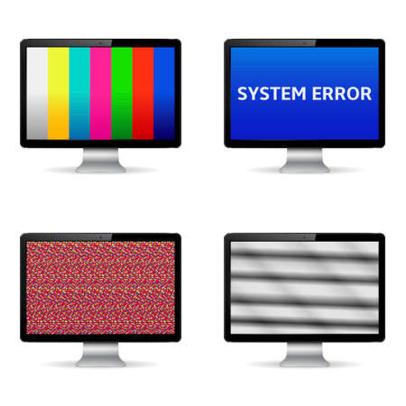 error message: No signal, system error message and test image on computer digital screens
