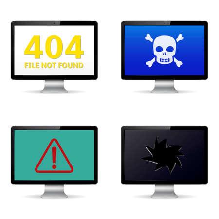 anti piracy: Computer crash, technical failure message on computer screens. Vector illustration. Illustration