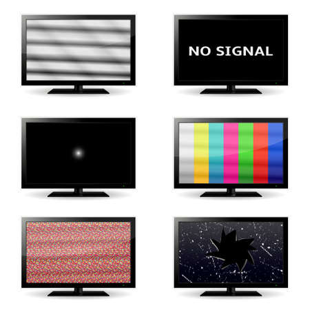 no signal: TV icons with no signal and test image on the screens