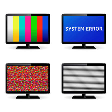 computer virus: Monitor icons. No signal, system error message and test image on computer monitor screens