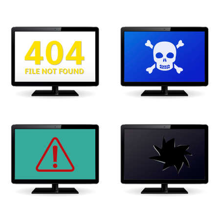 anti piracy: Computer crash, technical failure message on computer monitor screens. Vector illustration. Illustration