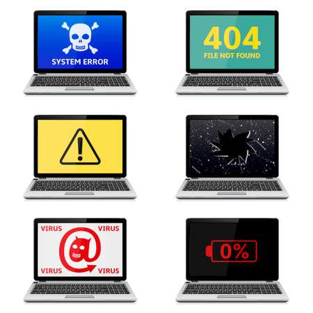 Error Laptops Icons Set. Vector Illustration.