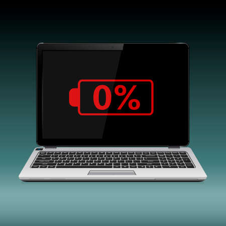 Modern laptop with low battery sign on the screen. Vector illustration. Çizim