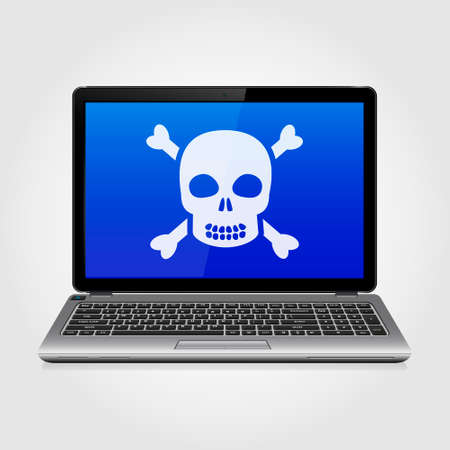 computer hacker: Business laptop with skull on the blue screen. Vector illustration.