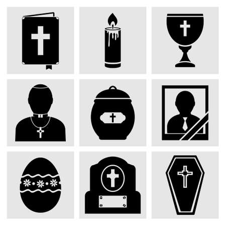 rip: RIP and Funeral Icons Set