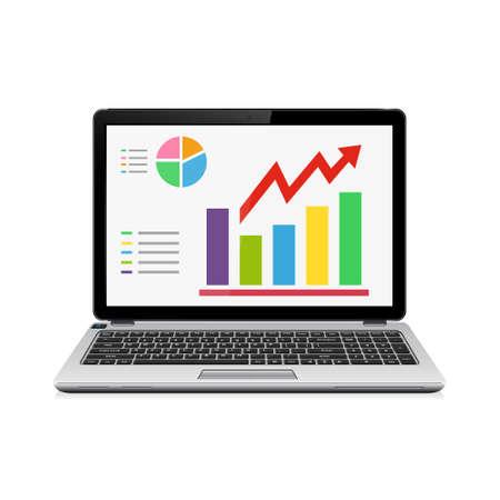 ESTADISTICAS: Ordenador portátil con gráficos, estadísticas en la pantalla aisladas sobre fondo blanco. Ilustración del vector.