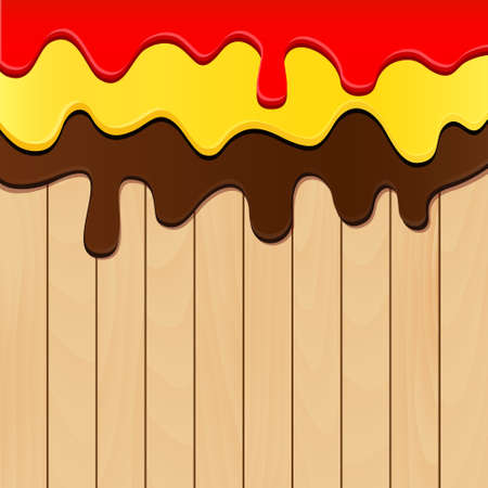 paint drop: Paint dripping on wooden planks background. Vector illustration.