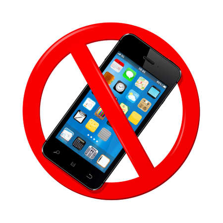 cell phones not allowed: Do not use mobile phone sign isolated on white background. Vector illustration. Illustration