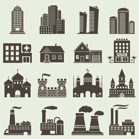 church interior: Set of various buildings and real estate icons Illustration