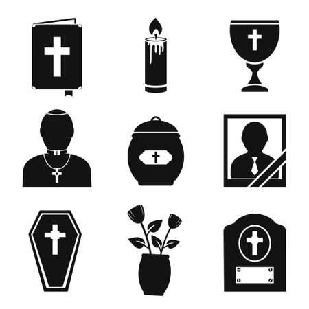cremated: Funeral and burial icons set