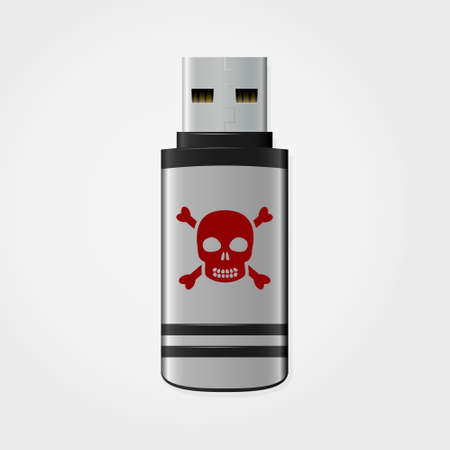 infected: USB flash drive infected malware, vector illustration Illustration