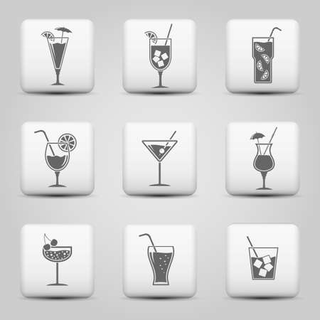 pina colada: Cocktail icons in grey color on vector web buttons