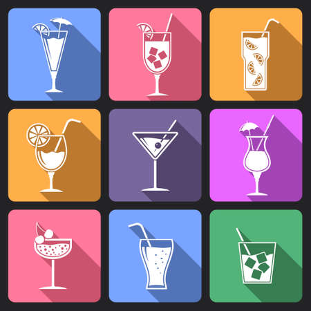 Cocktail flat icons with long shadow Illusztráció