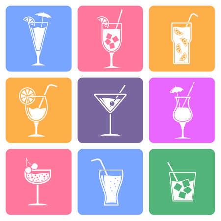 colada: Cocktail flat icons set