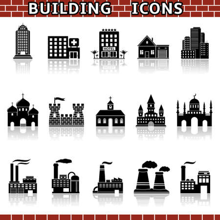 church interior: building icon set Illustration