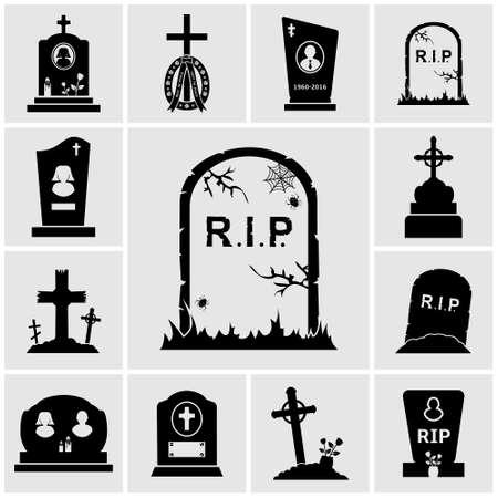 cruces de cementerio y lápidas de conjunto de iconos Ilustración de vector