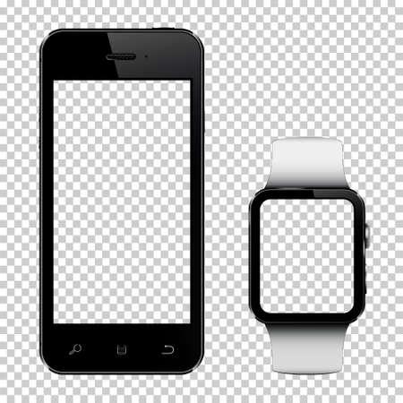 スマート フォンとで透明な背景に分離された透明スクリーンのスマートな腕時計  イラスト・ベクター素材