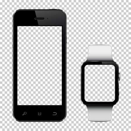 Smart phone and smart watch with transparent screen isolated on transparent background Stock Illustratie