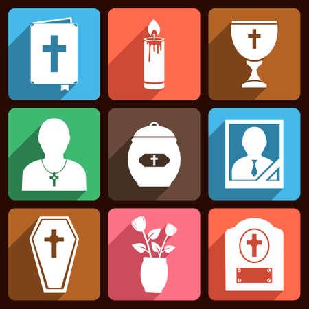Funeral icone piane vettoriali con lunga ombra