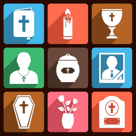 cremated: Funeral vector flat icons with long shadow
