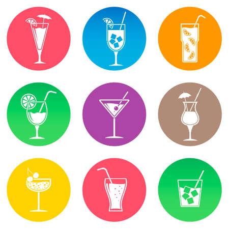 pina colada: Cocktail icons, flat design vector