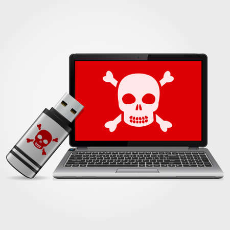 infected: USB flash drive with laptop infected malware. Vector illustration.