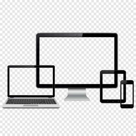 Conjunto de dispositivos de tecnología moderna plantilla para la presentación de diseño de respuesta. Maqueta consta de ordenador portátil, smartphone y Tablet PC. Aislado en el fondo transparente. Ilustración de vector