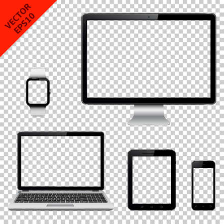 Various modern electronic gadget with transparent screen isolated on transparent background. Vector illustration.