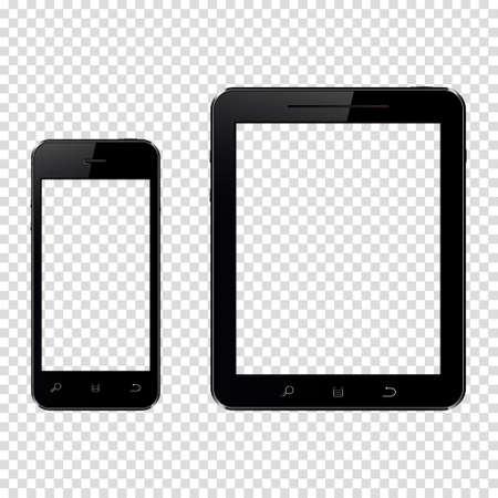 スマート フォンやタブレット pc で透明な背景に分離された透明スクリーン  イラスト・ベクター素材
