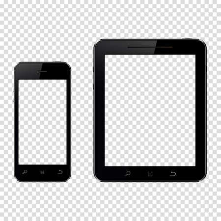 Smartphone and tablet pc with transparent screen isolated on transparent background
