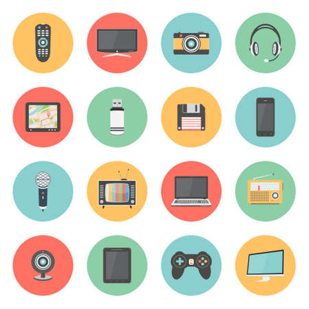 laptop mobile: Flat icons set of multimedia and technology devices Illustration