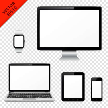 Computer monitor, laptop, tablet pc, mobile phone and smart watch isolated on transparent background