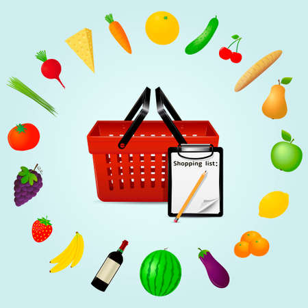grocery shopping: Food grocery shopping web infographics concept Illustration