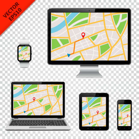 Computer monitor, laptop, tablet pc, mobile phone and smart watch with GPS map on screen. Isolated on transparent background.