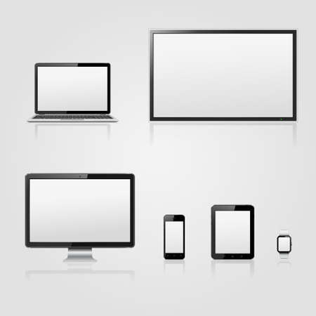 Modern technology devices - lcd tv screen, computer monitor, laptop, digital tablet, smart watch and mobile phone with blank screen