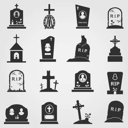 Cemetery crosses, tombstones and gravestones web icons set.