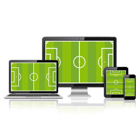 lcd monitor: TV screen, lcd monitor, notebook, tablet computer, mobile phone and smart watch with soccer field on screen.