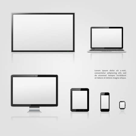 computer isolated: TV screen, lcd monitor, notebook, tablet computer, mobile phone, smart watch templates