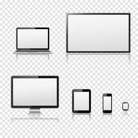 テレビ、液晶モニター、ノートブック、タブレット コンピューター、携帯電話、透明な背景で隔離のスマートな腕時計