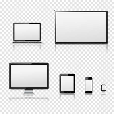 lcd screen: TV screen, lcd monitor, notebook, tablet computer, mobile phone, smart watch isolated on transparent background