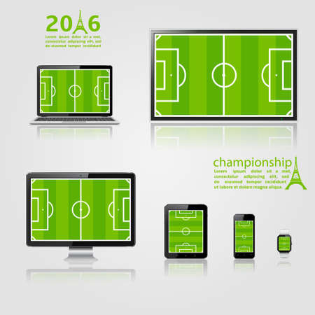 lcd screen: TV screen, lcd monitor, notebook, tablet computer, mobile phone, smart watch with footbal field on screen. European championship 2016 template. Vector illustration. Illustration