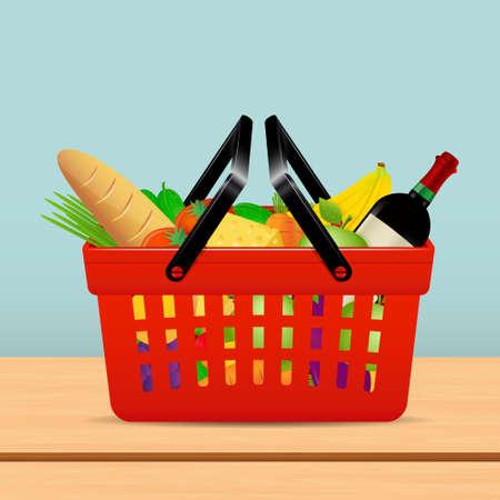 Shopping basket for supermarket with food Illustration